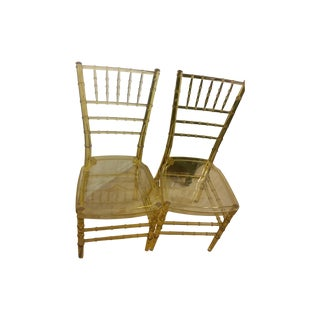 Luicite Bamboo Clear Gold Chairs - Pair