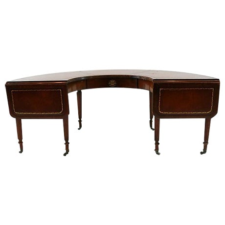 Mahogany & Leather Demilune Table - Image 1 of 9