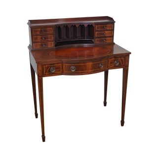 1940s Flame Mahogany Federal Style Writing Desk