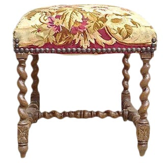 Antique Jacobean Aubusson Tapestry Footstool