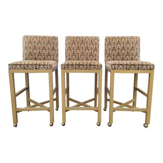Velvet 1980s Bar Stools on Caster - Set of 3