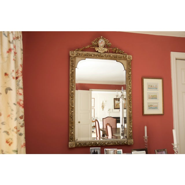Carved Gilded Wall Mirror With Porcelain Cartouche - Image 2 of 5