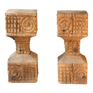 Brutalist Carved Pedestals - A Pair