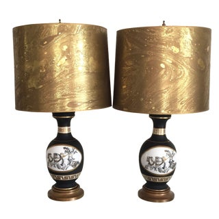 Black Porcelain Lamps with Gold Shades - A Pair