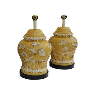 Mustard Yellow Ginger Jar Lamps - A Pair