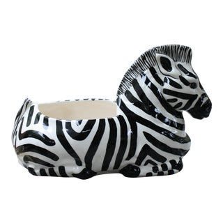Vintage Handpainted Ceramic Zebra Planter