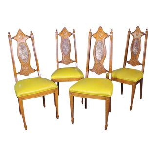 Mid-Century Carved Cane Chairs - Set of 4