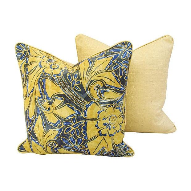 Scalamandre Blue & Gold Silk Pillows - A Pair - Image 3 of 7