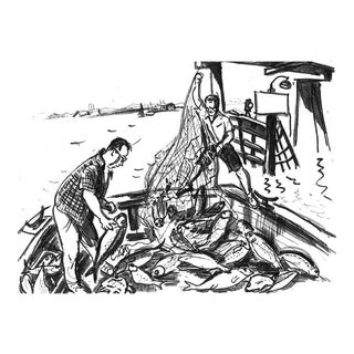 """Vintage """"Fishermen"""" Drawing, Giclee Print by New Yorker Cartoonist George Schellhase, 1950s"""