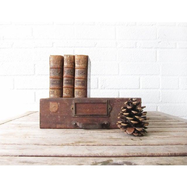 Vintage Rustic Wood & Metal Drawer Box - Image 3 of 6