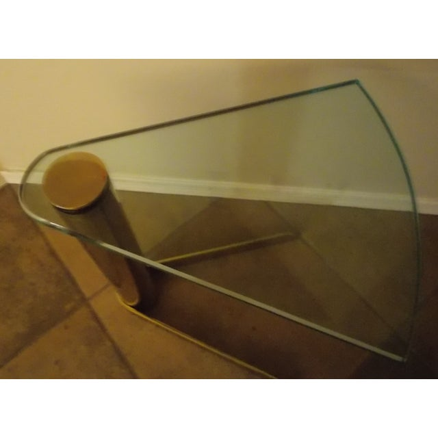 Pace Triangular Brass & Glass Side Table - Image 3 of 4