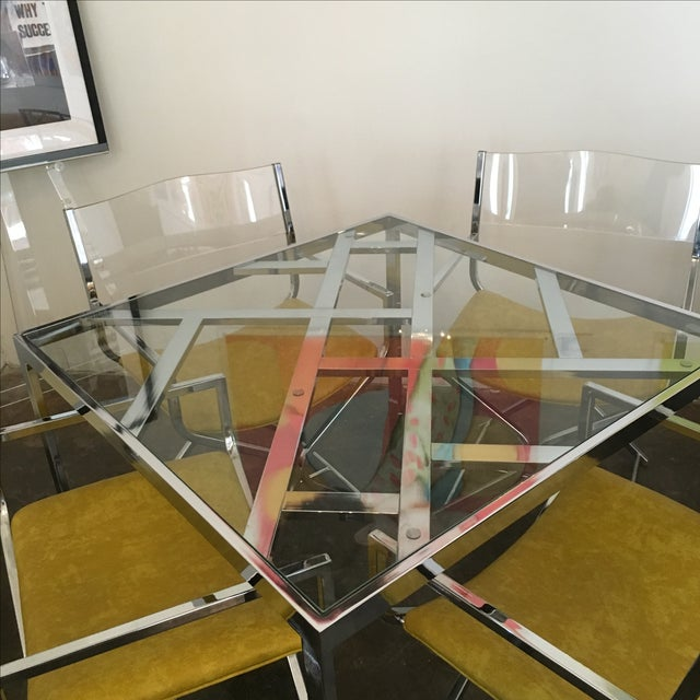 Chrome and Glass Game and or Dining Table and Four Chrome and Lucite Armchairs - Image 3 of 11
