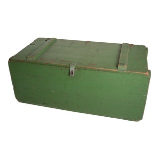 Vintage Military Green Wood Foot Locker