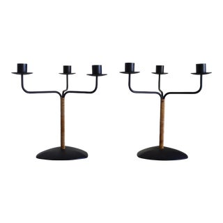 Lauris Lonborg Danish Modern Iron & Rattan Candle Holders - A Pair