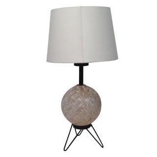Mid-Century Ceramic & Metal Wire Table Lamp 1950s
