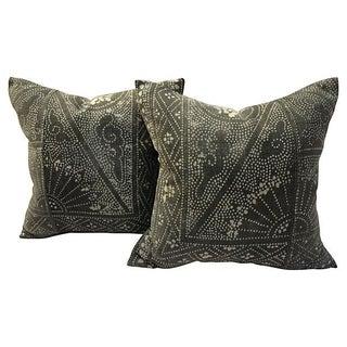 Gray Batik Pillows - A Pair