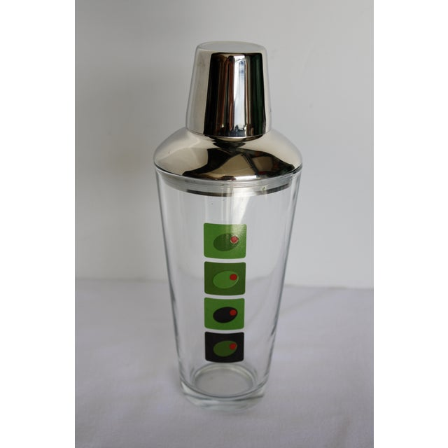 Mid-Century Olive Motif Glass Martini Shaker - Image 2 of 4
