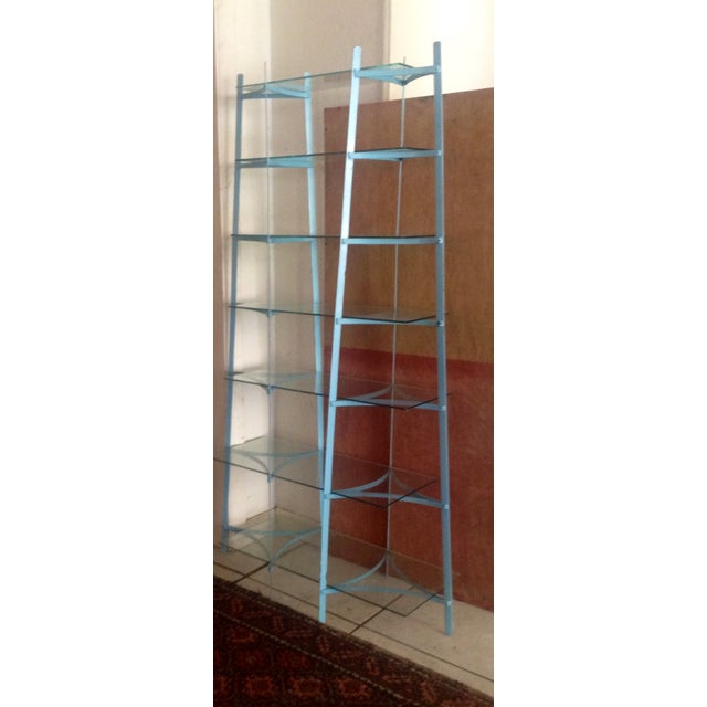 Image of Mid-Century Industrial Metal Glass Shelving Unit