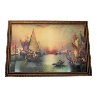 "Antique Renaissance Venice Italy ""Harbor"" Print"