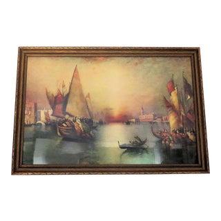"Antique Renaissance Venice Italy ""Harbor"" Print"