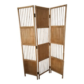 Vintage Pencil Bamboo Room Divider Screen