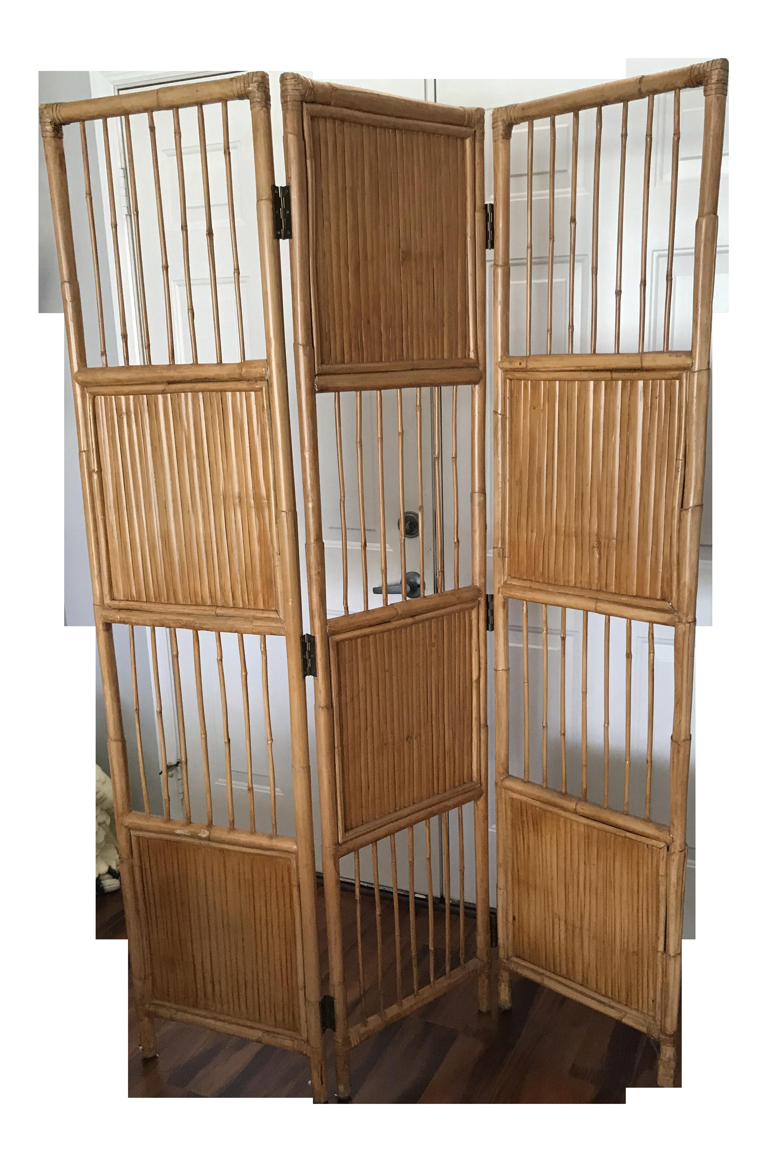 vintage pencil bamboo room divider screen