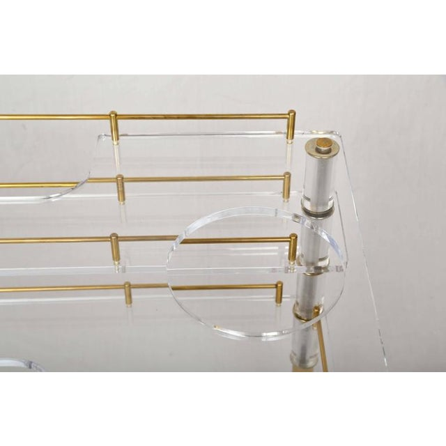 Lucite and Brass Bar Cart on Casters in the Style of Hollis Jones - Image 3 of 9