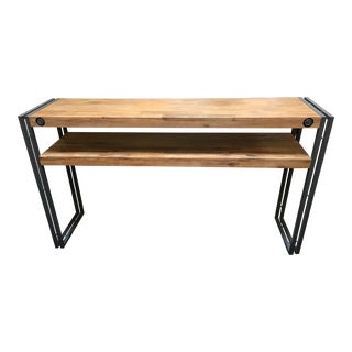 Rustic Industrial Wood & Metal Console Table