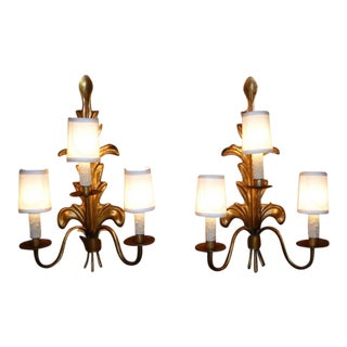 Pair of Acanthus Leaf Gilt Metal Three-Candle Sconces 1950s