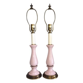 Paul Hanson Vintage Pink Ceramic Lamps - Pair