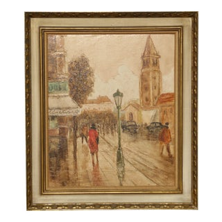 Vintage Mid-Century French City Scape Oil Painting Picture Gold Frame