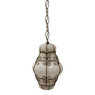 Vintage Seguso Murano White Glass Cage Pendant Light, 2 available