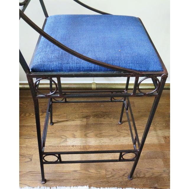 Blue Seat & Wrought Iron Bar Stools - Set of 3 - Image 5 of 6
