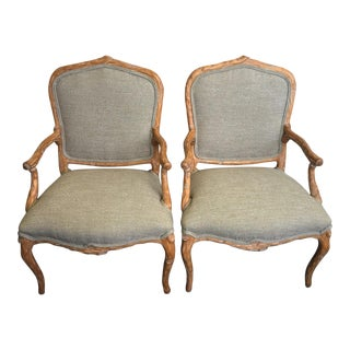 Italian Faux Bois Arm Chairs - a Pair