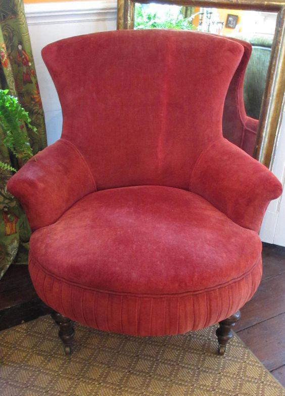 Victorian Red Velvet Slipper Chair   Image 2 Of 6