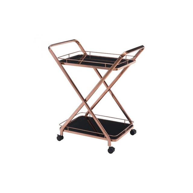 Rose Gold & Black Glass Bar Cart - Image 1 of 4