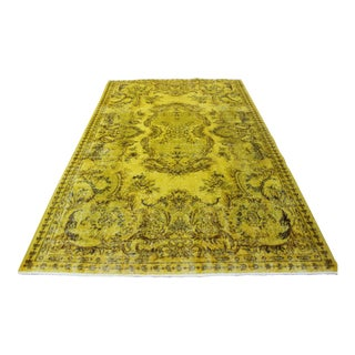 "Handmade Yellow Turkish Overdyed Rug - 5'7"" X 8'10"""