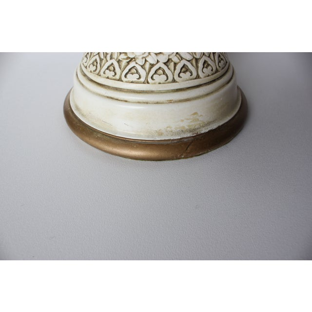 Plaster Relief Table Lamp with Floral Landscape - Image 5 of 7