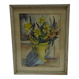 C 1953 Original Flowers Water Color Painting by Oksana