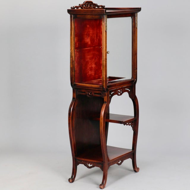 Tall Narrow Chinese Carved Wood Vitrine Display Cabinet - Image 2 of 11