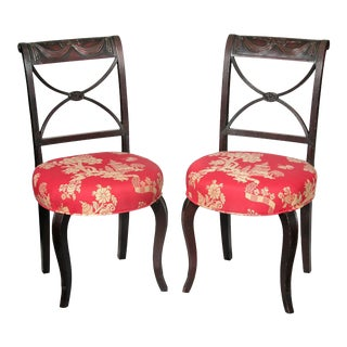 A Pair of Classical Carved Mahogany Side Chairs