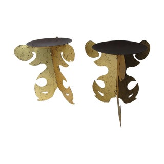 Gold Scroll Candle Holders - A Pair