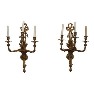 Pair Of French Louis XVI Gilt Bronze Three Light Wall Sconces Circa 1900s
