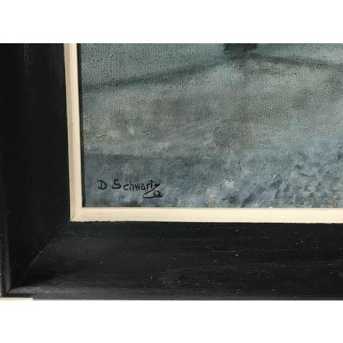 1962 Evening City Scape in a Carriage Oil on Canvas Painting by D Schwartz - Image 3 of 7