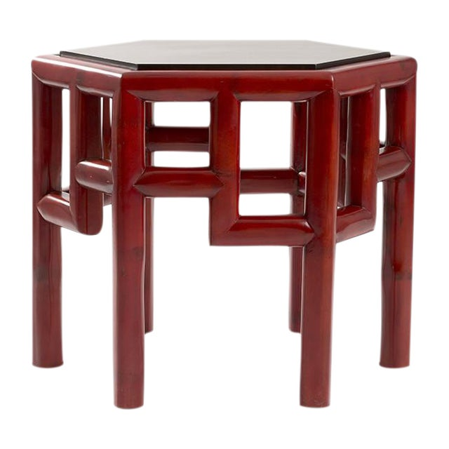 Red Bamboo Hex Side Table - Image 1 of 3