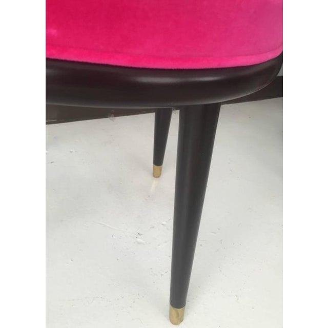 Mid-Century Hot Pink Velvet Stools - A Pair - Image 4 of 4