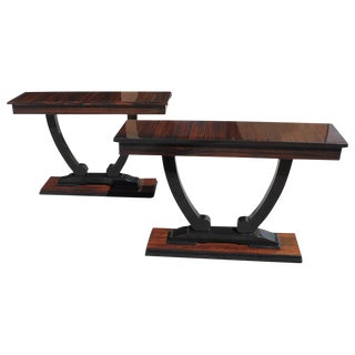 1940s French Art Deco Macassar Ebony Console Tables - A Pair