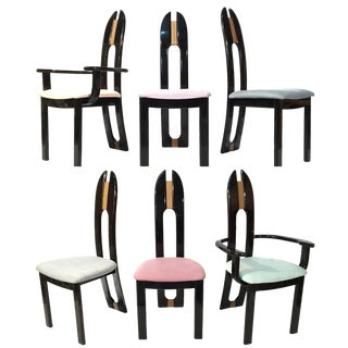 80's Black Lacquer Italian Dining Chairs by Pietro Costantini for Ello - Set of 6