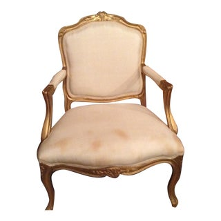 Louis XV Style Schumacher Cream Silk Upholstered Chair