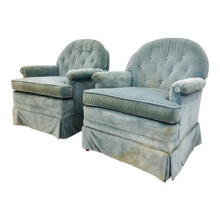 Vintage Tufted Back Club Chairs - A Pair